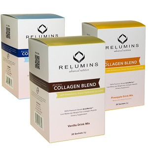 Relumins Premium Collagen Blend - 20 Sachets - 100% Premium-Grade ActuMarine Collagen with Glutathione, Green Tea Extract and CoQ10