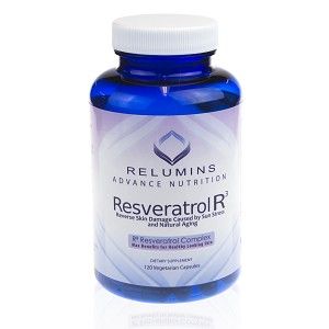 NEW!! Relumins Resveratrol R3, Reverse Skin Damage Caused by Sun Stress and Natural Aging- 120 Capsules